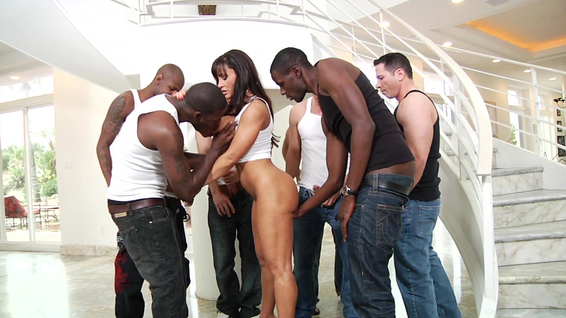 trailer slut entertains group of men
