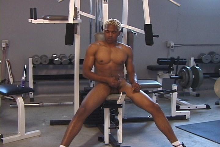 Male masturbation at the gym
