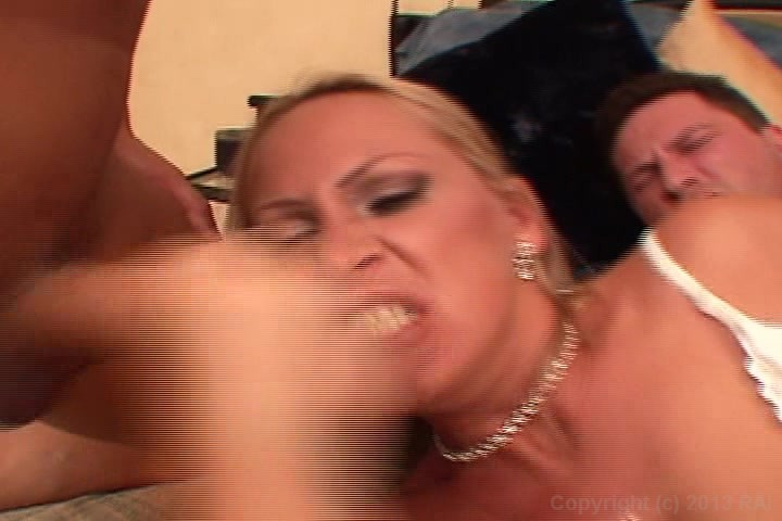 Blonde Beauty Fucks Two Studs at the Same Time