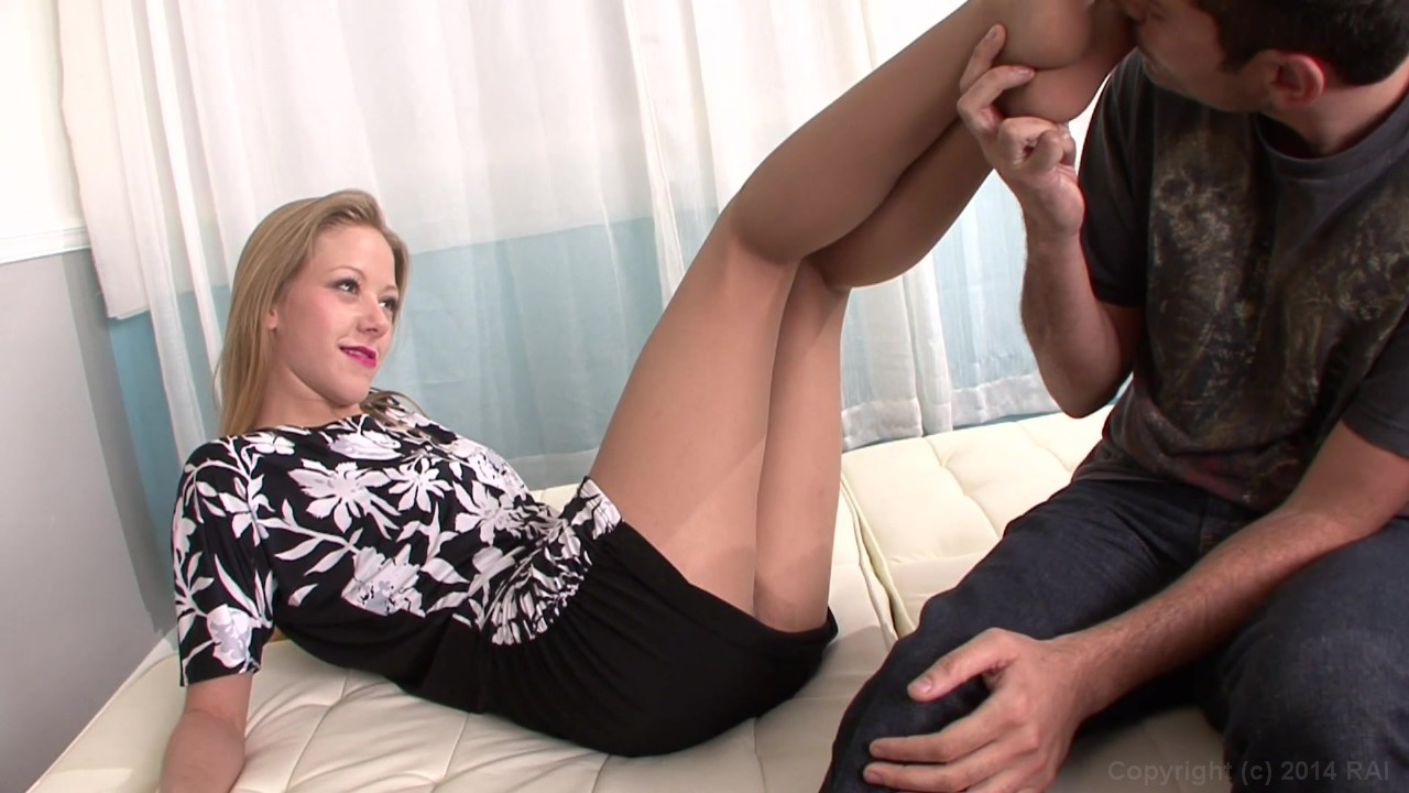 Blonde Beauty Gives Her Man a Foot Job
