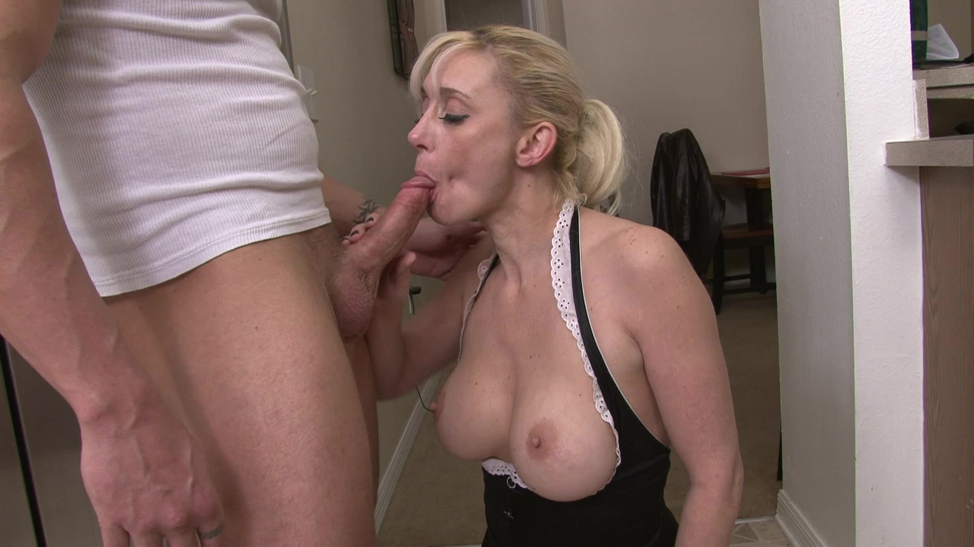 Blonde Beauty Deep Throats a Hard Cock Before Cum is Drenched On Her