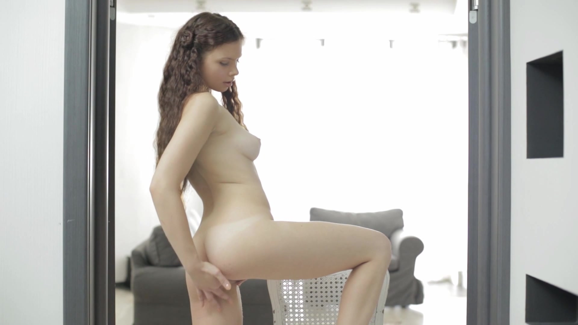 Teen home alone, college cutie nude