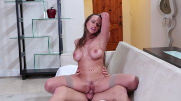 Busty MILF Rachel Roxxx Fucks a Muscular Stud on the Couch