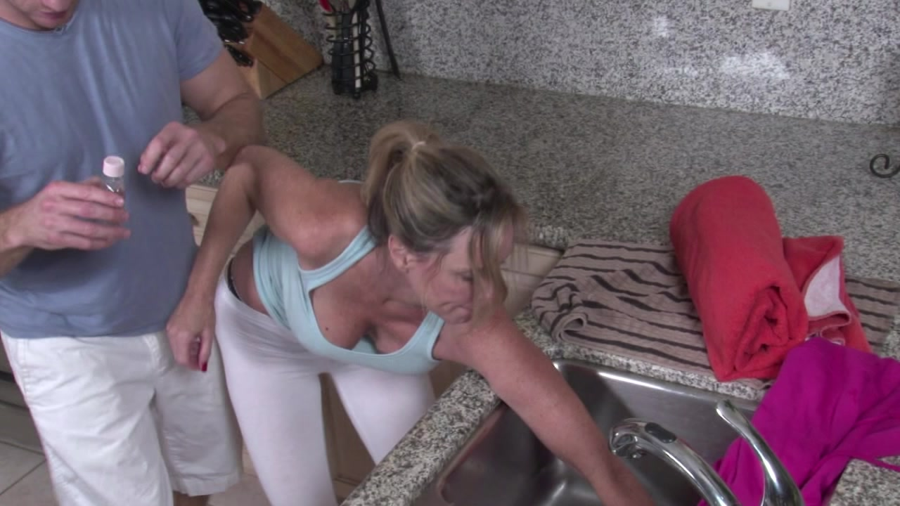 Stepmom Gets Stuck In The Fireplace And Fucked By Stepson