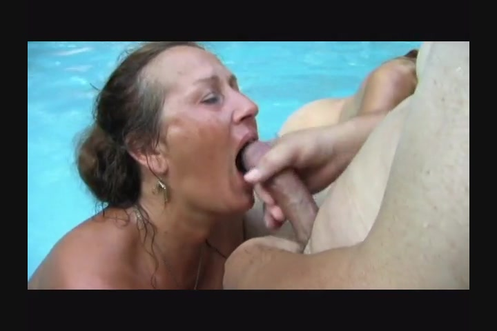 Cock swallowing party near the pool