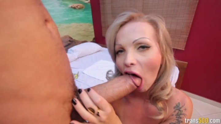 Blonde shemale gets pounded hard — photo 14