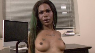 Tranny with Big Cock Jerks off Blows Her Load