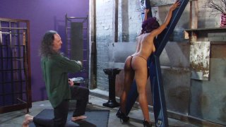 Cupcake's awesome ass is flogged and whipped, she worships Master's feet