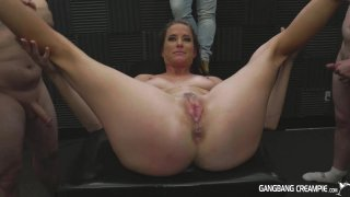 Streaming porn video still #4 from Gangbang Creampie: Fuck And Fill My Wife, Please