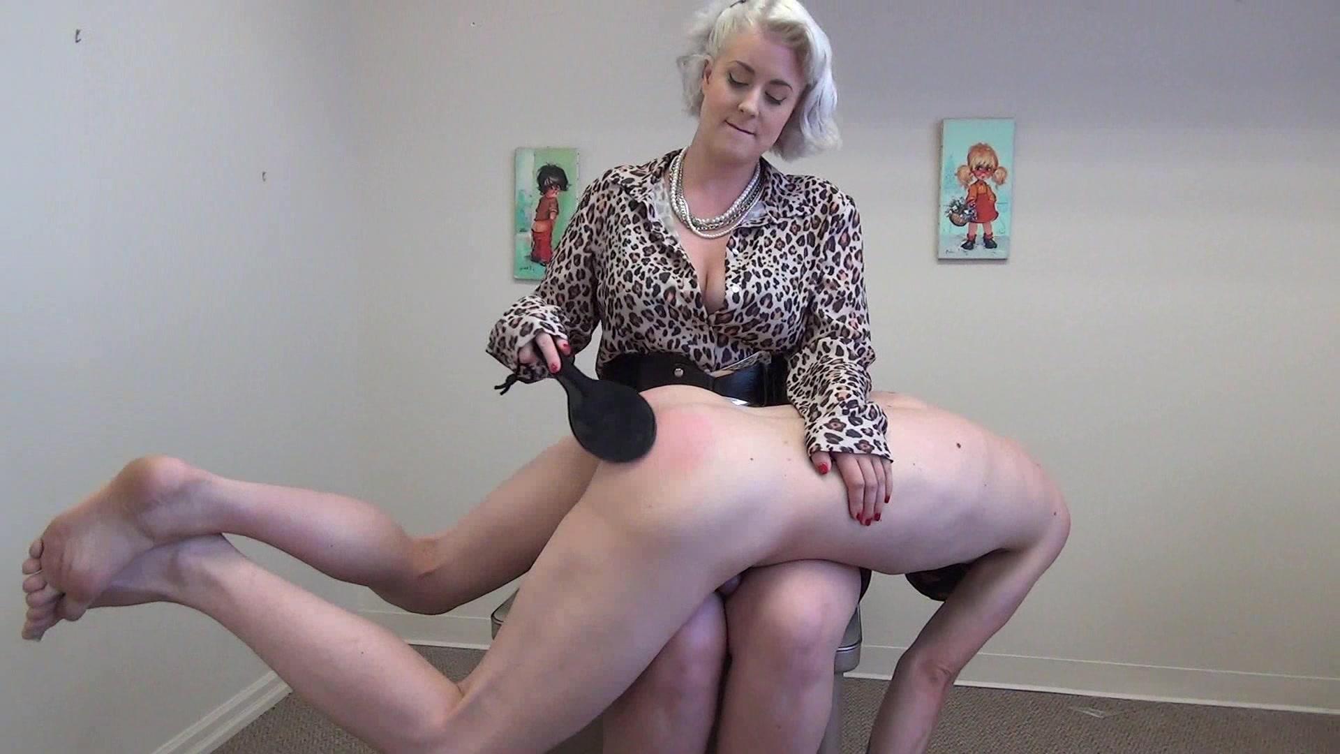 Mature blonde milf spanking