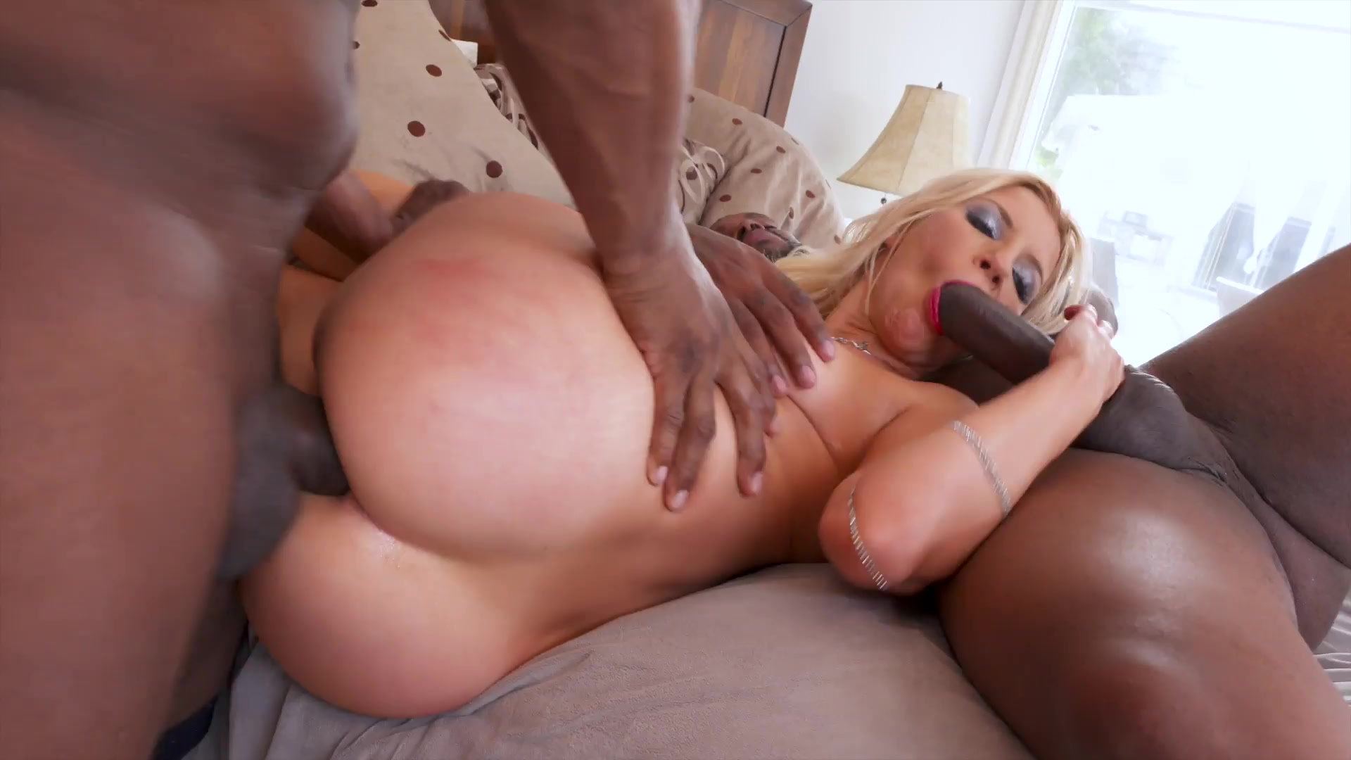 By teamed black double cocks blonde