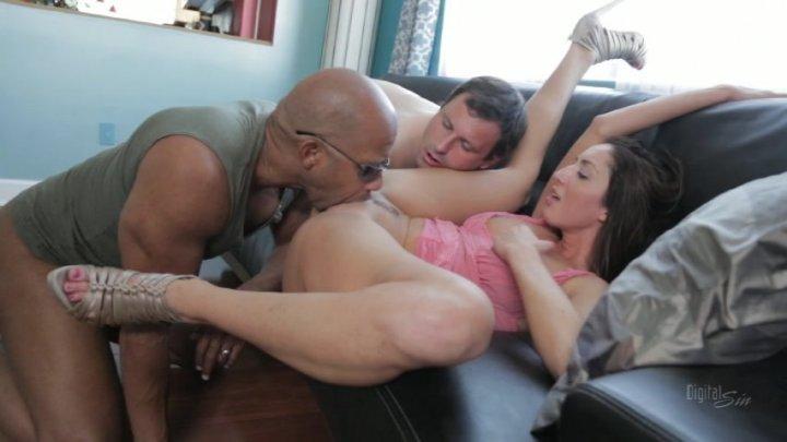 Black haired wife sucks her husband