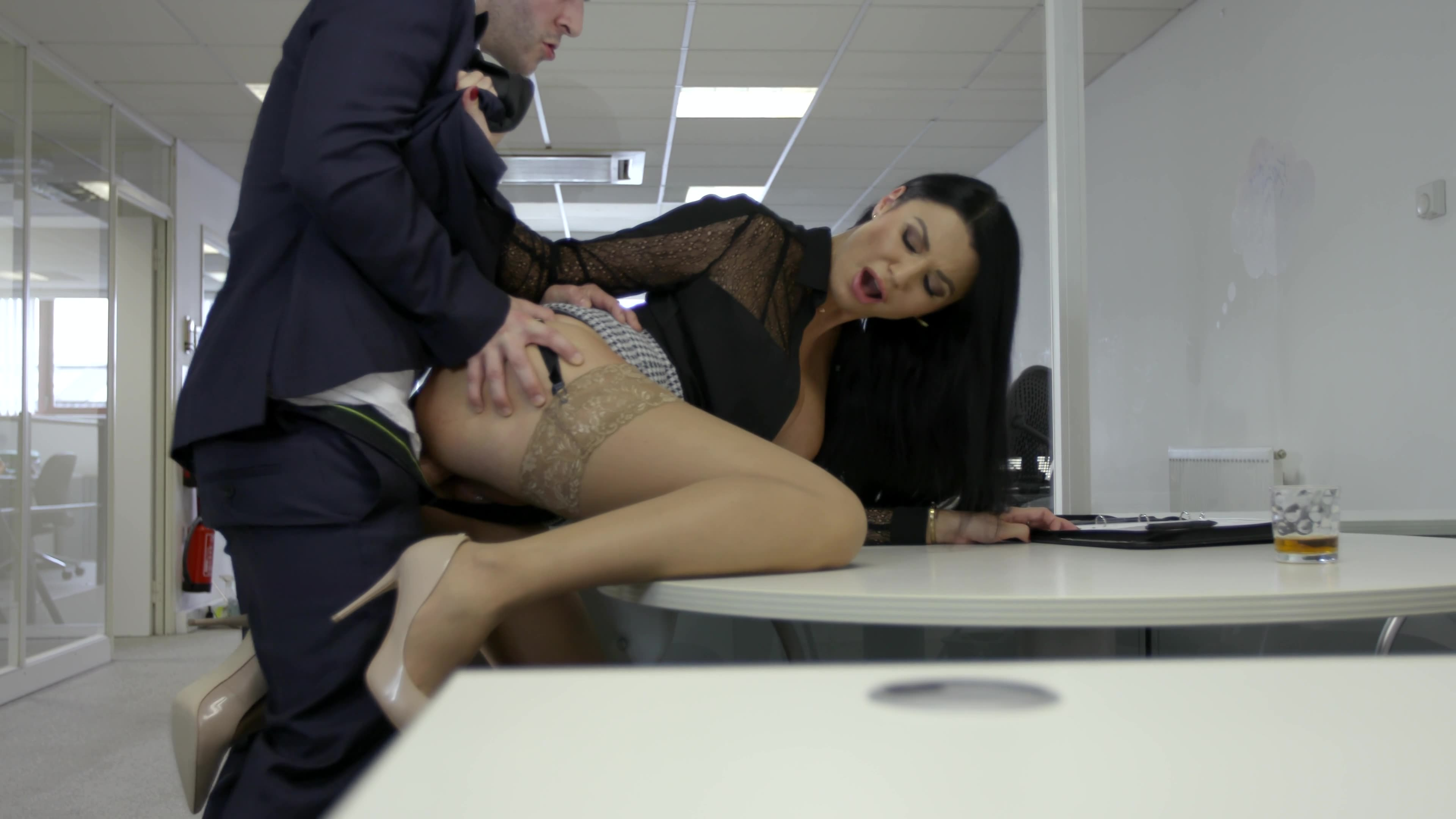Sexy banker gets a hard fuck and huge facial during interview for gay porn