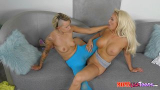 Blonde Beauties Olivia Fox and Pressley Carter Scissor on the Couch