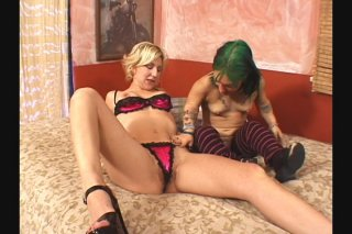 Streaming porn scene video image #2 from Horny midget and blonde lesbian playing