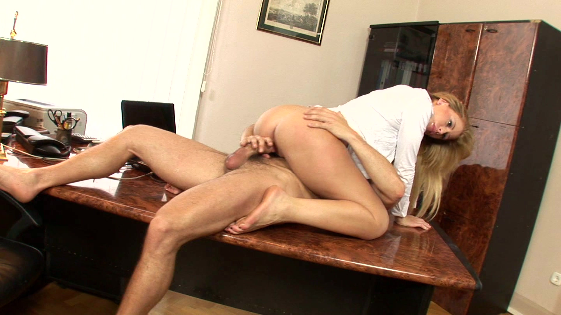 Blonde having sex in office, upskirt oops movie and pics