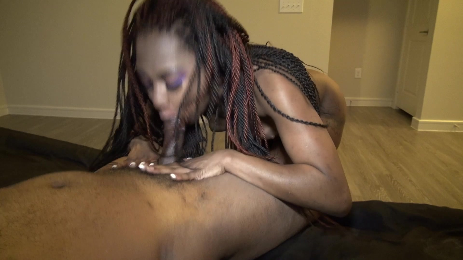 Sexy Chocolate Girl Taking While Her Boyfriend Keeps Calling