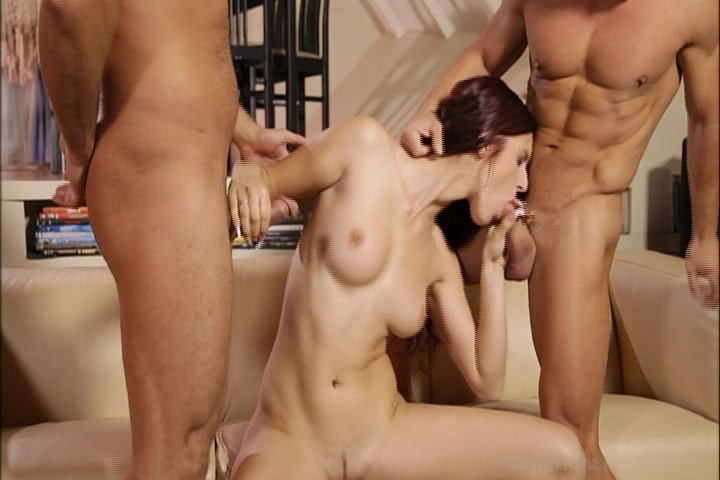 Have a threesome with two guys, shrunken girl naked
