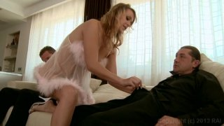 Blonde Beauty Oliviya Dis Gets Her Ass Gaped by Two Studs in a Hot Threesome