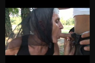 Streaming porn scene video image #1 from Grandma with bushy cunt banged on doghouse by own nephew