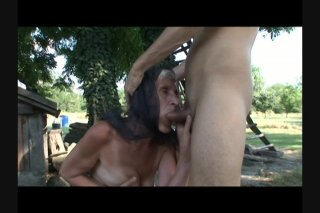 Streaming porn scene video image #6 from Grandma with bushy cunt banged on doghouse by own nephew