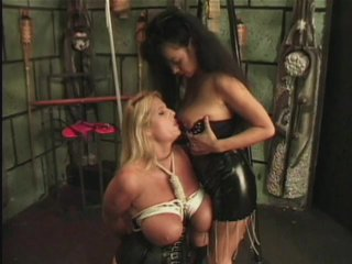 Streaming porn scene video image #5 from Lesbian FemDom Subdues Her Busty Subject