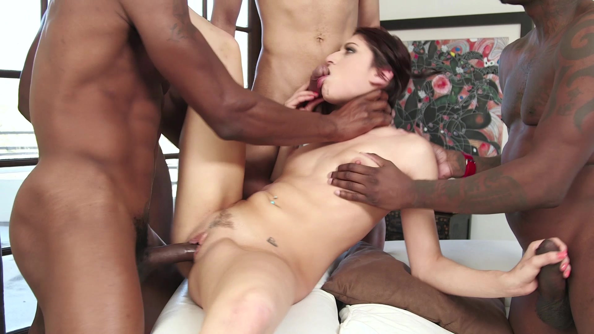 Ebony creampie gang bang