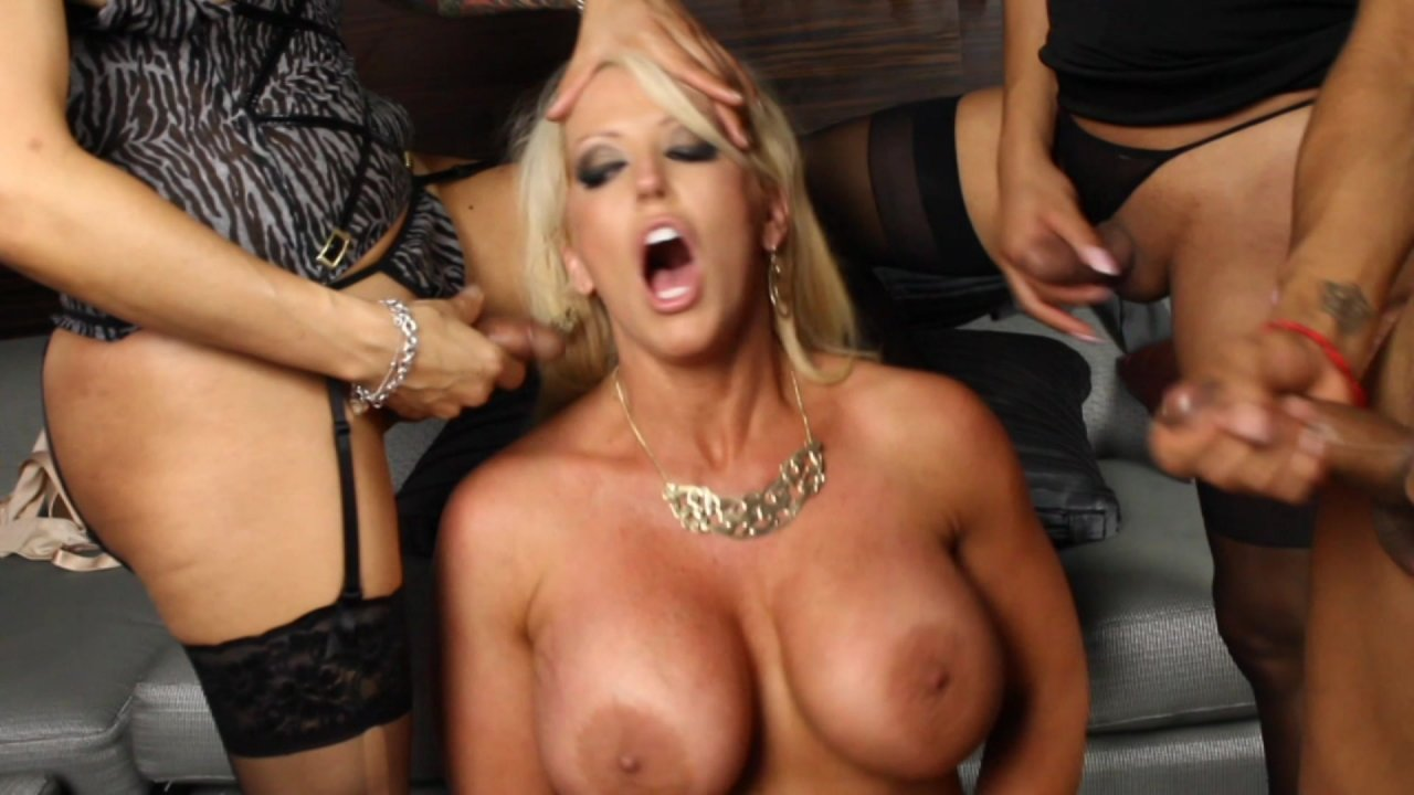 Alura Jenson Jessie Dubai Foxxy Porn three hot brunette ts babes have their way with busty blonde