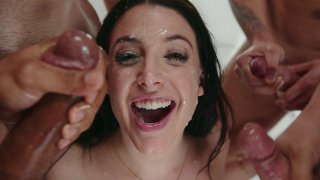 Gorgeous Brunette Angela White Enjoys a Blow Bang and a Facial