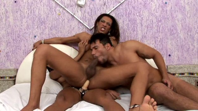 Streaming porn video still #1 from Transsexual Menage A Trois Bareback 2