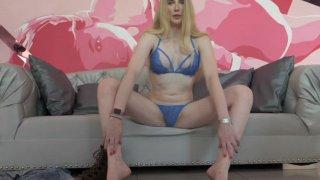 Blonde T-Girl Janelle Fennec Shows Off Her Hard Cock