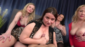 Reverse Gangbang in POV of Four Mature Ravenously Horny MILFs.