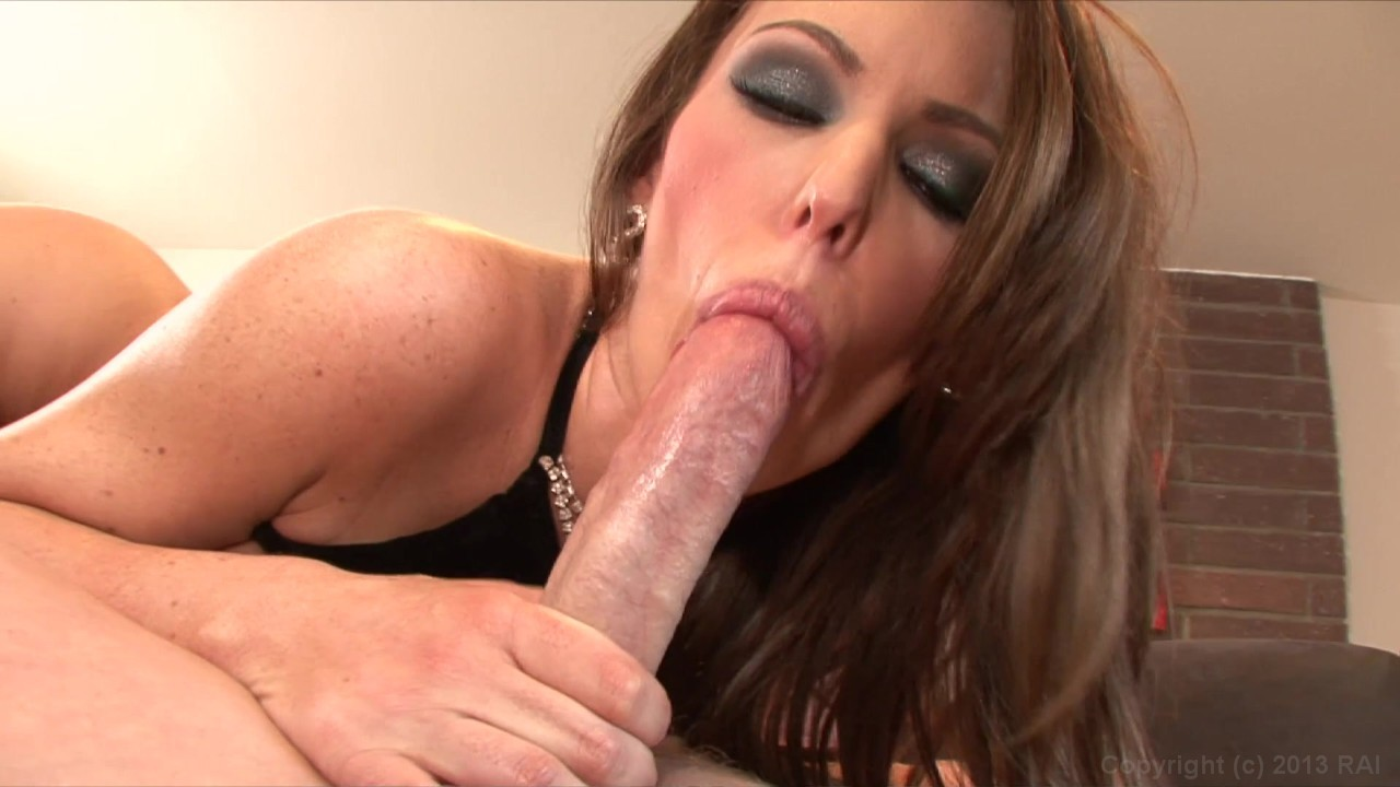 Busty brunette jenna presley with blindfold deep swallows hard dick