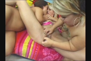 Streaming porn scene video image #5 from Lesbian threesome with two small midgets