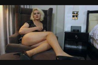 Isabella Sorenti Masturbates Her Hard Cock in Fishnet Body Suit
