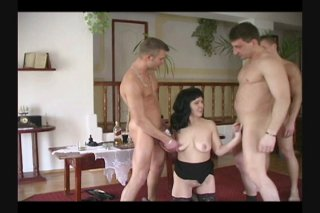 Streaming porn scene video image #2 from Slutty Brunette Takes On Three Cocks