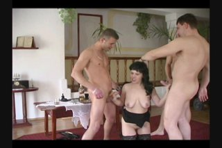 Streaming porn scene video image #3 from Slutty Brunette Takes On Three Cocks