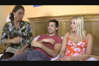 MILF Stacie Starr Gives a Younger Guy a Blowjob as Blonde Vanessa Cage Watches
