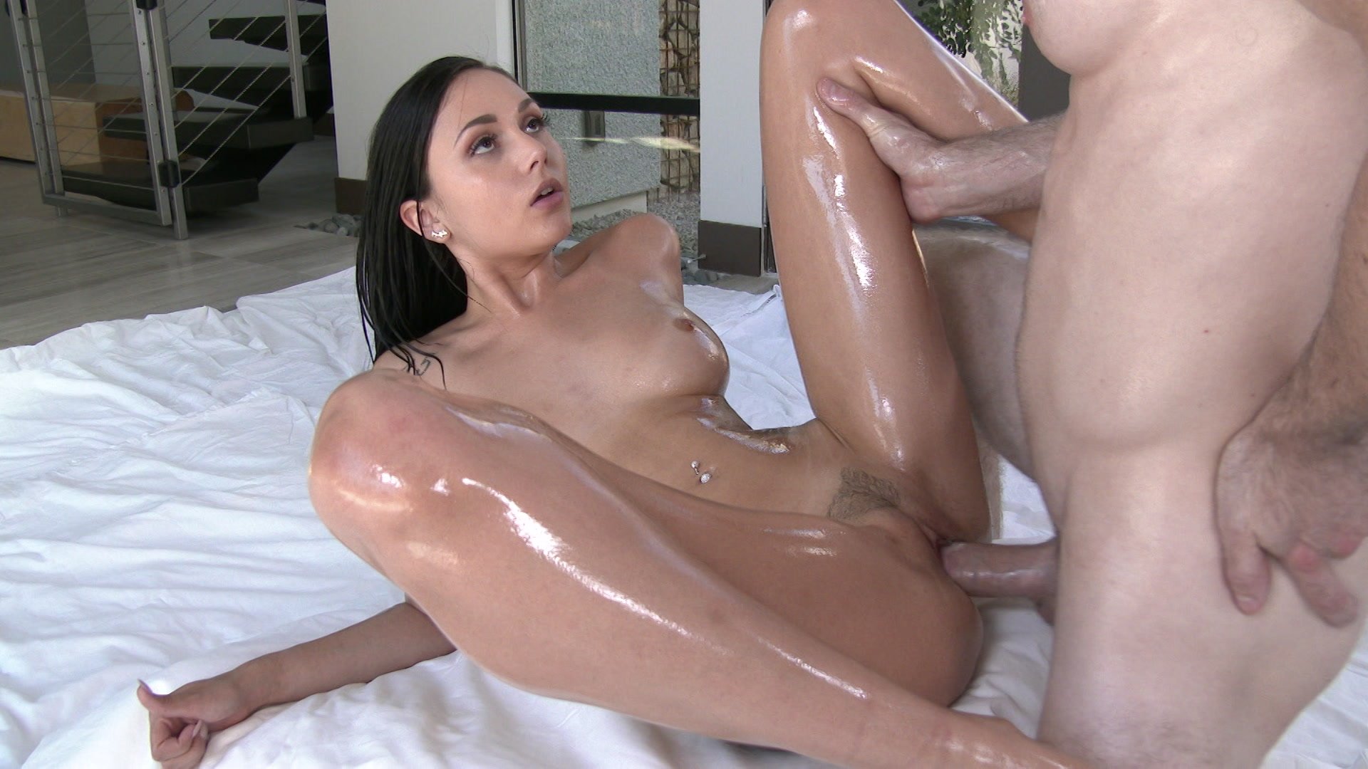 Lubed cock stroked until it spurts