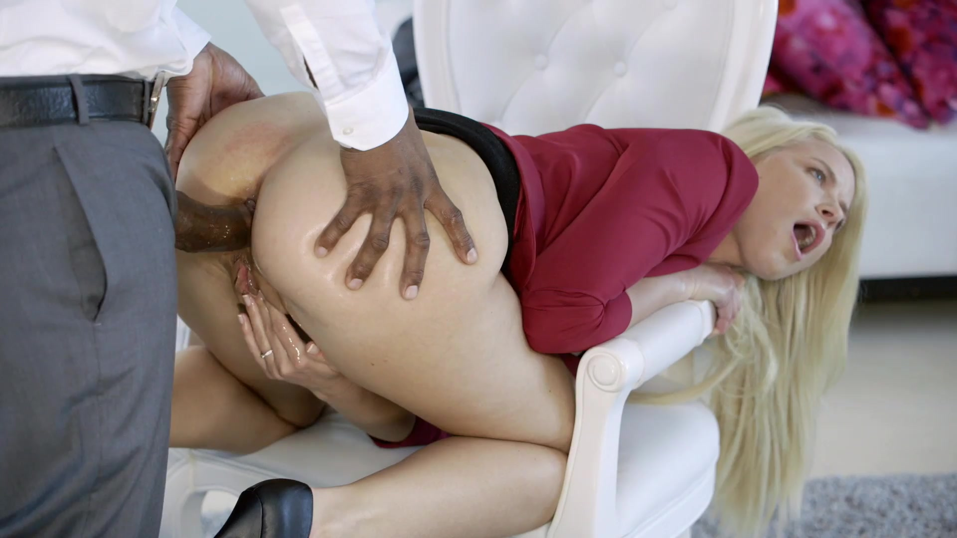 Deep anal with a schoolgirl in stockings, he filled her ass with thick sperm