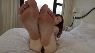 You wake up resting beauty Jelena Vermilion and begin sucking on her milky white feet. When you lick between her toes, she gets hard.