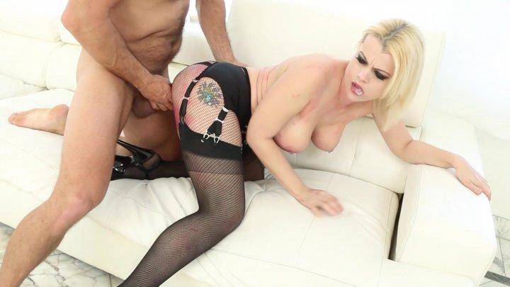 Streaming porn video still #3 from Big Tit Blonde Fucks In Fishnets