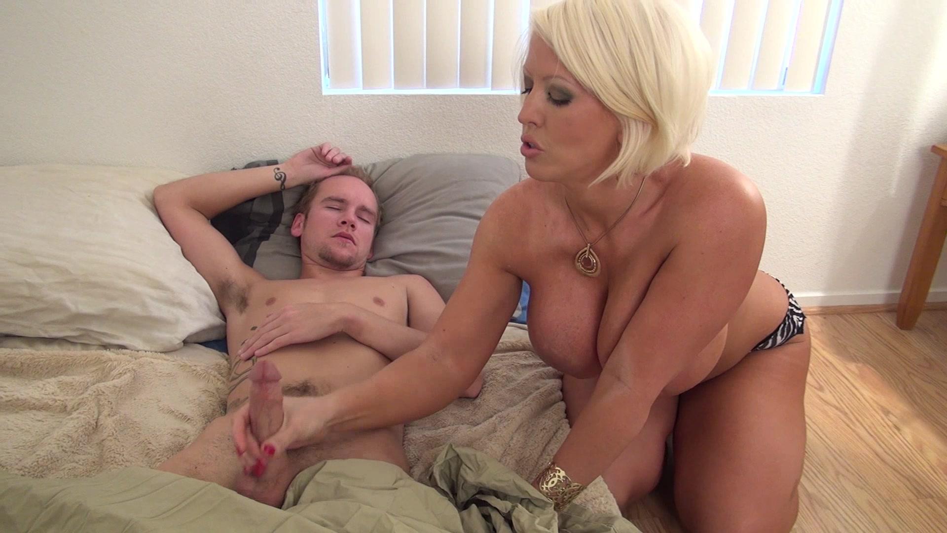 Mother helps son masturbate