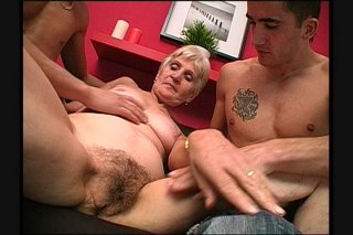 Streaming porn scene video image #1 from Grandma Gets The Pleasure Of Two Young Cocks