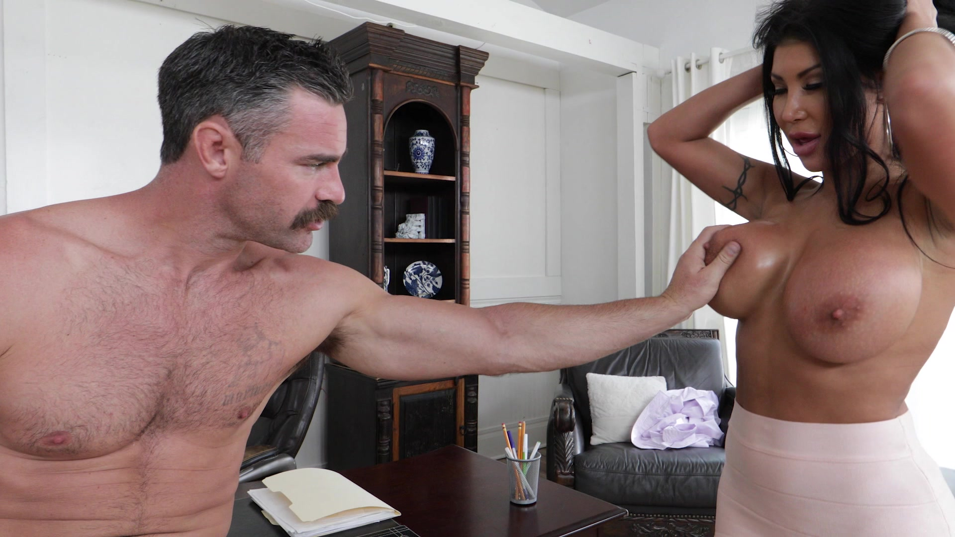 Dad personal secretary blackmailed breasts played with