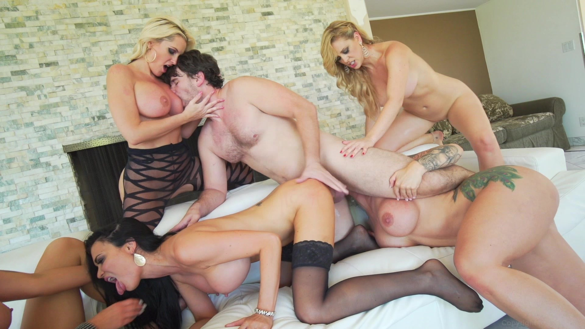 Rough anal gangbang with one girl and six horny boys