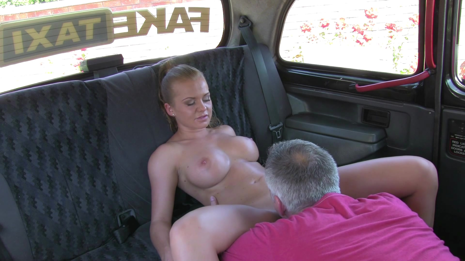 Female Fake Taxi Lesbians Have Pussy Licking Wrestle Fun In Back Of British Taxi